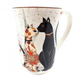 Wysoki kubek ceramiczny do herbaty kawy w koty KOT poj. 400ml