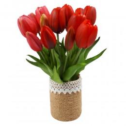 mały bukiet sztucznych tulipanów czerwonych / gumowe tulipany jak żywe