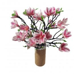 Sztuczna gałązka magnolii różowa 42cm/ sztuczne kwiaty magnolia