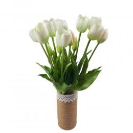 Sztuczne tulipany białe bukiet / gumowe tulipany w bukiecie 5szt