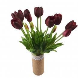 Sztuczne tulipany bordowe bukiet / gumowe tulipany w bukiecie 5szt