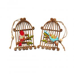 Zawieszka drewniana klatka z ptaszkiem