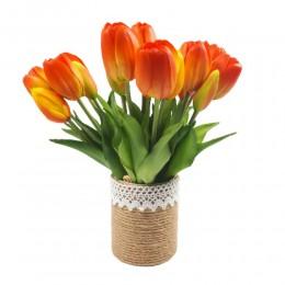 Mały bukiet sztucznych tulipanów pomarańcz / gumowe tulipany jak żywe