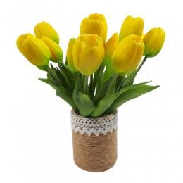 Mały bukiet sztucznych tulipanów żółtych / gumowe tulipany jak żywe