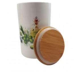 Pojemnik ceramiczny z drewnianą pokrywką OLIVE OIL poj. 1kg