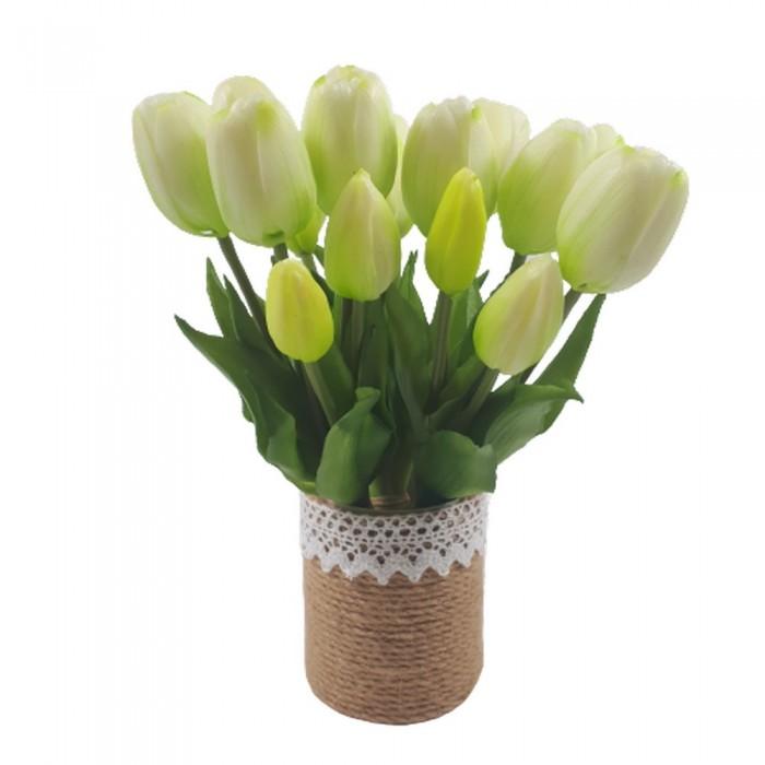 Mały bukiet sztucznych tulipanów białych / gumowe tulipany jak żywe