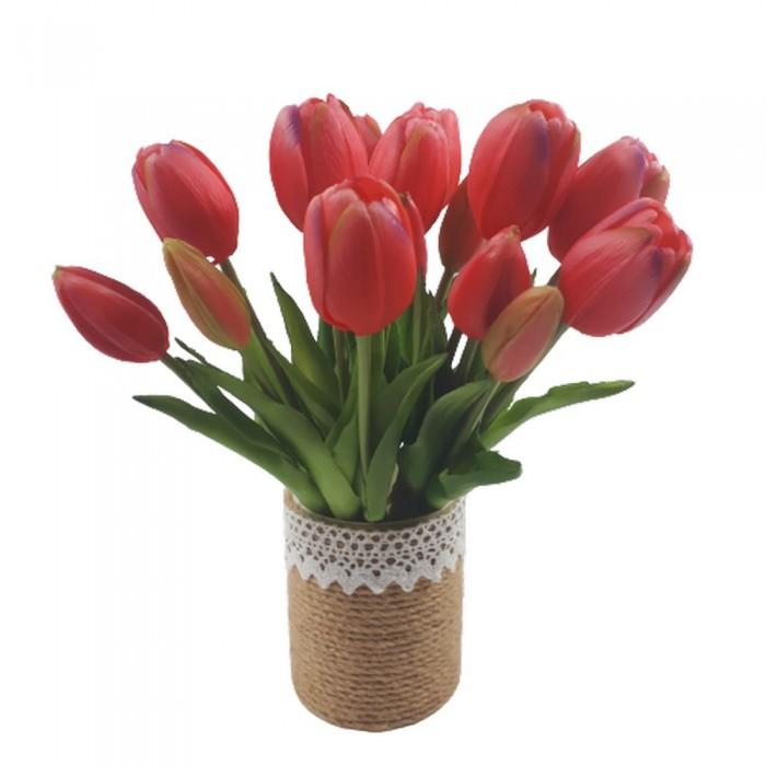 Mały bukiet sztucznych tulipanów różowych / gumowe tulipany jak żywe