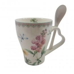 Kubek ceramiczny z łyżeczką w kartoniku ŁĄKA poj. 320ml