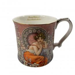 Złocony kubek na kawę herbatę prezent QUEEN ISABELL RÓŻOWA DAMA