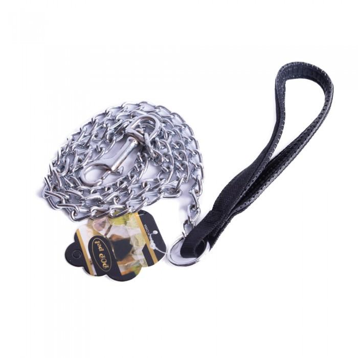 Smycz dla psa metalowa łańcuszkowa z nylonowym uchwytem 1cm/125 cm