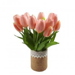 Mały bukiet sztucznych tulipanów jasnoróżowych / gumowe tulipany