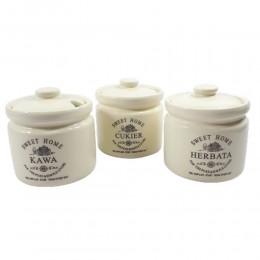 Zestaw pojemników kuchennych SWEET HOME 3 szt. kawa herbata cukier
