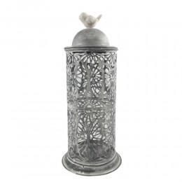 Latarnia lampion metalowy ażurowy szary z wkładem szklanym h 38cm