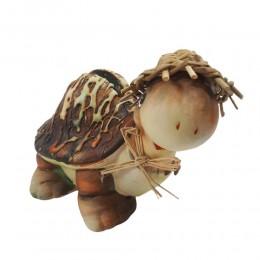 Skarbonka żółw / figurka żółwik z drewnianym kapeluszem i kokardką