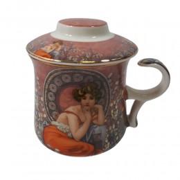 Kubek z zaparzaczem sitkiem do herbaty QUEEN ISABELL RÓŻOWA DAMA