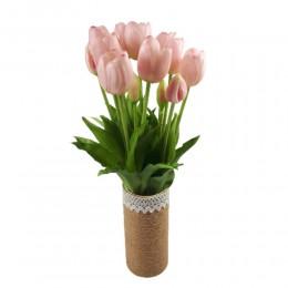 Sztuczne tulipany jasnoróżowe bukiet / tulipany gumowe w bukiecie 5szt