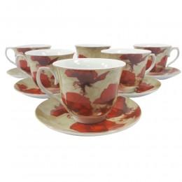 Serwis do kawy i herbaty na 6 osób CZERWONE MAKI