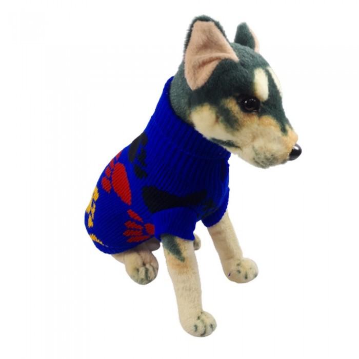 Ciepły sweterek ubranko golf dla psa kota NIEBIESKI W ŁAPKI