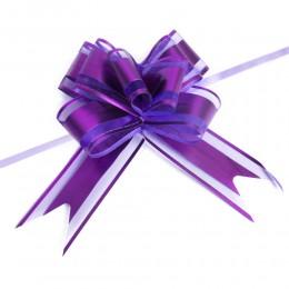 Fioletowe wstążki ściągane w kokardy do dekoracji weselnych 10 szt