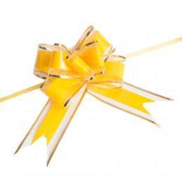 Żółto złote wstążki ściągane w kokardę / wstążka ściągana 10 szt