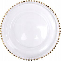 Przezroczysty szklany pod talerz ze złotymi kulkami 33cm
