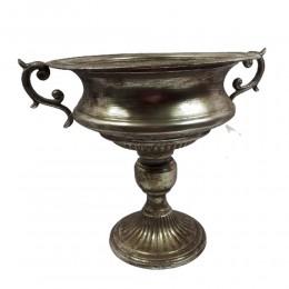 Wielka dekoracyjna misa patera waza na nodze w srebrnym kolorze