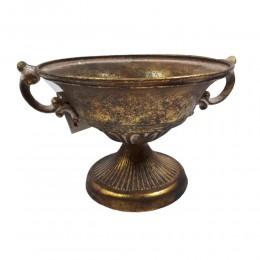 Dekoracyjna misa patera waza na nodze w złotym kolorze