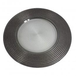 Talerz podtalerz szklany srebrny w paski 32cm / pod talerz ozdobny