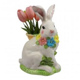 Figurka duży zając wielkanocny z koszykiem i kwiatkami wys. 26cm