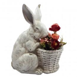 Osłonka na doniczkę zając królik z koszyczkiem / dekoracja wielkanocna