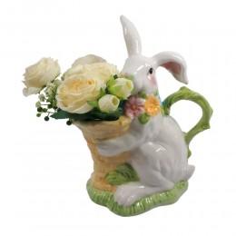 Figurka ceramiczny królik zając wielkanocny z koszykiem wys. 26cm
