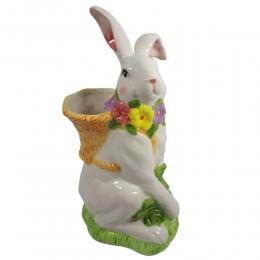 Figurka ceramiczny królik zając wielkanocny z koszykiem wys. 33cm