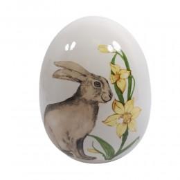 Wielkanocne jajko ceramiczne ZAJĄC ŻONKIL wys. 16cm / ozdoba jajko