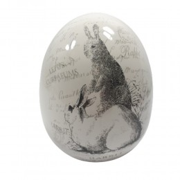 Jajo jajko ceramiczne ZAJĄCE wys. 16 cm / ozdoba jajko wielkanocne