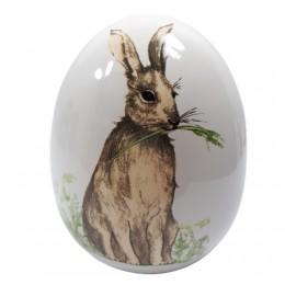 Jajo jajko ceramiczne ZAJĄC ŁĄKA wys. 16 cm / ozdoba jajko wielkanocne