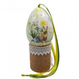 Styropianowe jajko wielkanocne wykonane metodą decoupage DWA ZAJĄCE