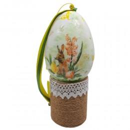 Styropianowe jajko wielkanocne wykonane metodą decoupage ZAJĄC HIACYNT
