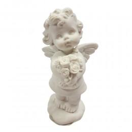 Aniołek figurka na prezent / mała figurka aniołka z kwiatkami