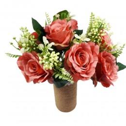 Bukiet sztucznych róż 7 sztuk / kwiaty sztuczne róże różowe