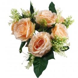 Bukiet sztucznych róż morelowych 7 sztuk / kwiaty sztuczne róże