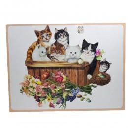 Obraz kolorowe koty / obraz na ścianę kociaki w koszyku 30x40cm