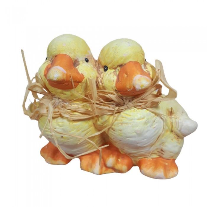 Dekoracja wielkanocna żółte kaczki kaczuszki gipsowe z kokardką