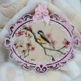 Różowa dekoracyjna deseczka ażurowa decoupage PTASZKI PTAKI