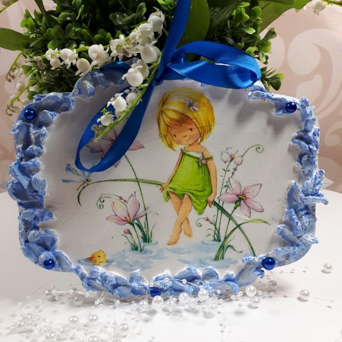 Szyld deseczka ozdobna dla dziewczynki wykonana metodą decoupage