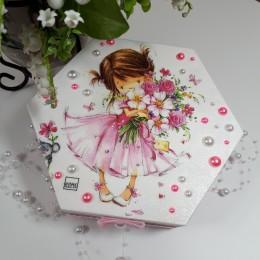 Kasetka drewniana szkatułka dla dziewczynki decoupage sprzedam
