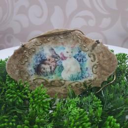 Ozdobna deseczka decuopage sprzedam ZAJĄCE dekoracja wielkanocna