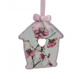 Ozdobna deseczka decoupage sprzedam domek różowe magnolie