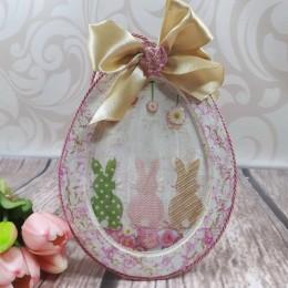 Jajko z ramką pisanka jajko wielkanocne decoupage sprzedam ZAJĄCE