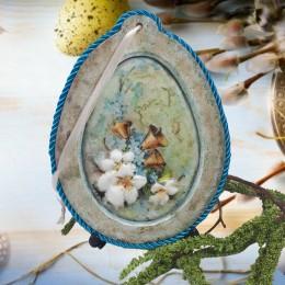 Jajko z ramką jajko wielkanocne decoupage sprzedam NIEZAPOMINAJKA