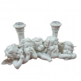 Świecznik na 2 świeczki z amorkami / podwójny świecznik z 5 aniołkami